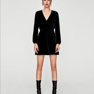 Zara black velvet wrap dress